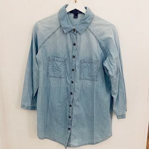 Forever21 Button Down Chambray Jean Top